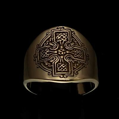 Ancient Bronze Mens Costume Band Ring Celtic Knot Cross High Polished Any Size