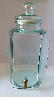 Italian SVE Glass Jar Italy 5 Gallon Drink Dispenser Brass Spigot