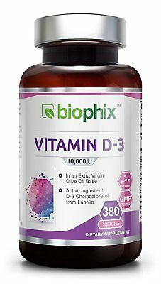 Vitamin D3 10000 IU 380 Softgels - High-Potency | Non-GMO | Soy-Free | In Extra