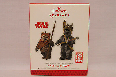 2013 Hallmark Keepsake Star Wars Wicket and Teebo Ornaments New