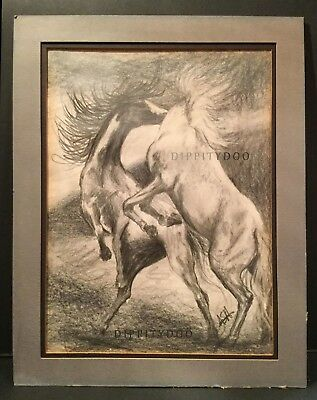 Original pencil sketching.  Two stallions in battle.  Nice range of tones,signed