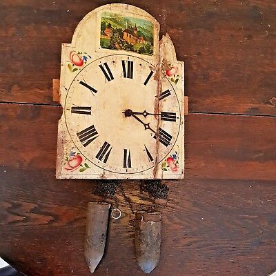 1800s Black Forest Cookoo Cuckoo Clock Old Hand Painted Wood Face Weights Hands3