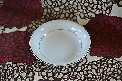 Vintage Desert Bowl - Envoy from Noritake Fine China - White w Silver Band