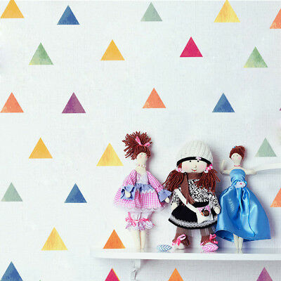 Removable Wall Stickers Colorful Triangle DIY Mural Vinyl Home Room Decals Decor