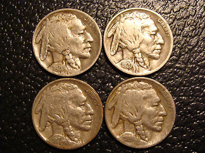 Nice Group of 4 Choice Fine to VF+ 1920-1924 Buffalo Nickels WE COMBINE SHIPPING