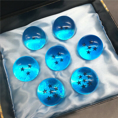 7pcs JP Anime Dragonball Z Stars Crystal Ball Collection Set with Box Gift Blue