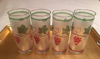 4 Vintage Home Essential Drinking Glasses - Frosted With Green Ivy & Red Grapes