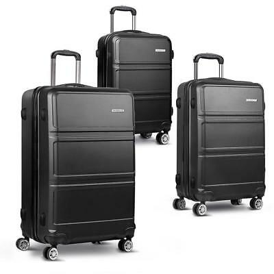 3pc Luggage Suitcase Set TSA Travel Carry On Bag Hardshell Case Light Black