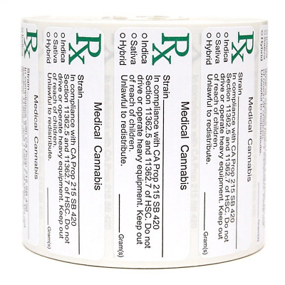 California Rx Medical Cannabis Compliant Strain Labels - 1000 labels