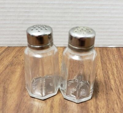 Vintage Diner Salt Pepper Shakers - Gemco - Clear Glass Stainless Top