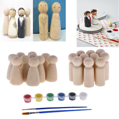 10pcs Set Unfinished DIY Wooden Peg Doll Hand Painting Craft Wedding Cake Topper