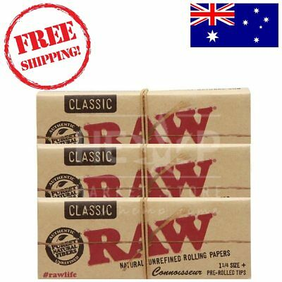 RAW Classic Connoisseur Regular 1 1/4 Rolling Papers+ Pre-Rolled Tips x3