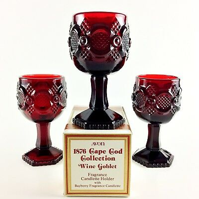AVON 1876 Cape Cod Ruby Red VTG 1970's Collection - Pressed Glass, Wine Goblet