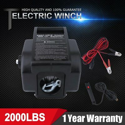 12V 2000LBS / 907kg Detachable Portable Electric Winch Marine Boat Truck 4WD ON