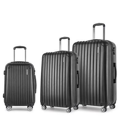 3pc Luggage Suitcase Set TSA Travel Carry On Bag Hard Case Lightweight Black