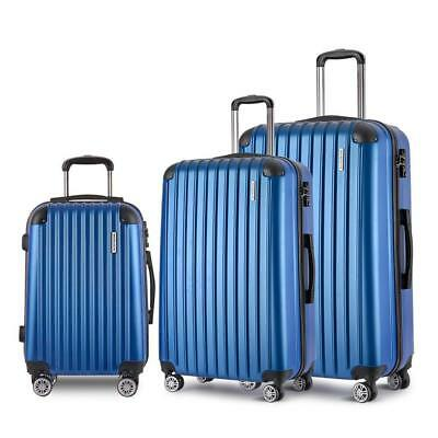 3pc Luggage Suitcase Set TSA Travel Carry On Bag Hard Case Lightweight Blue