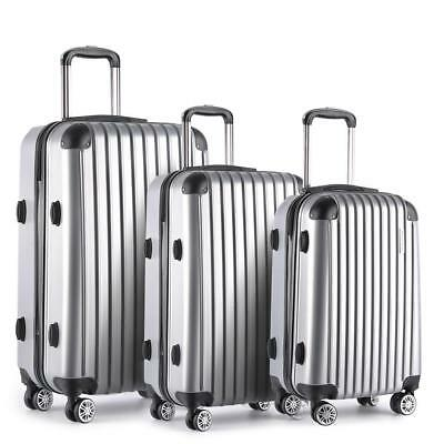 3pc Luggage Suitcase Set TSA Travel Carry On Bag Hard Case Lightweight Silver