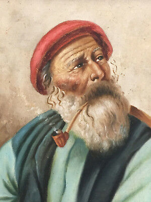 Antique Oil Painting Old Man Italian Fisherman Smoking Pipe Signed