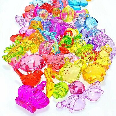 Craft DIY Mixed Colour Transparent Acrylic Charm Pendants Large Animal Shape