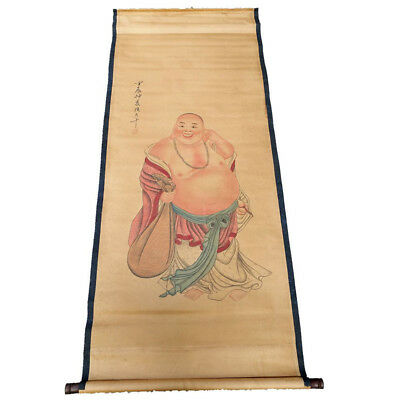 Chinese Hanging Draw Hand-Painted Laughing Buddha Calligraphy Scroll Painting