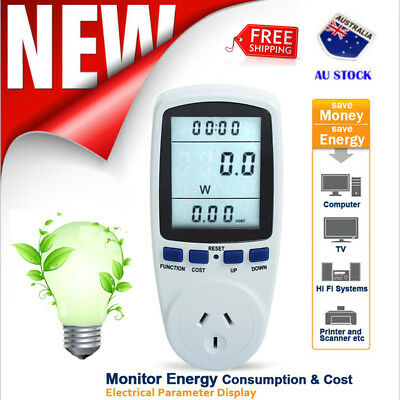 240V Power Meter Energy Electricity Watt Volt Consumption Monitor Socket AUPlug