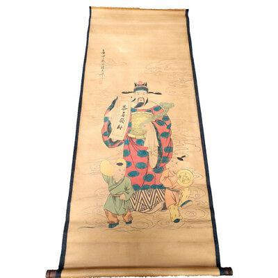 Chinese Hanging Draw Hand-Painted The God of Wealth Calligraphy Scroll Painting