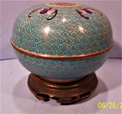chinese cloisonne round box 19th cent