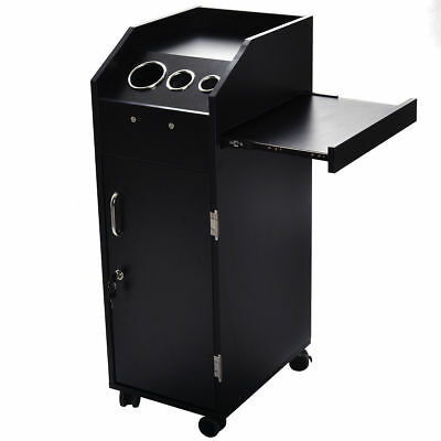 Locking Door Equipment & Black Beauty Salon Spa Rolling Trolley 4 Storage Trays