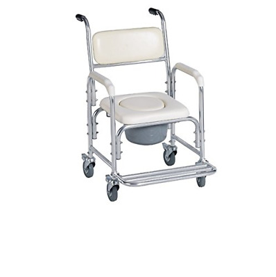 Aluminum Shower Chair/bedside Commode W/casters and Padded Seat, Commode Pail an