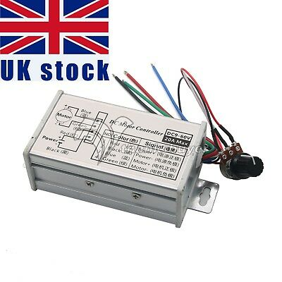 PWM 12V 24V Max 20A DC Motor Stepless Variable Speed Controller Switch UK