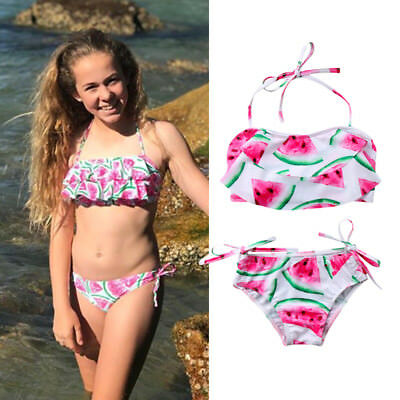 AU Stock Kids Girls Halter Watermelon Swimwear Swimsuit Briefs Bathing Beachwear