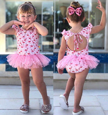 NEW Flamingo Newborn Baby Girls Swimsuit Swimwear Dress Romper Bathing AU Stock