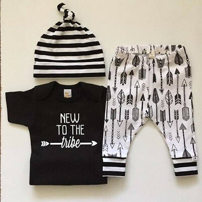 AU Stock Newborn Toddler  Baby Boy Girl Clothes Tops Pants Leggings Outfits 3Pcs