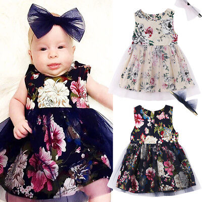AU Seller Newborn Kids Baby Girls Summer Floral Lace Tulle Party Dresses Clothes