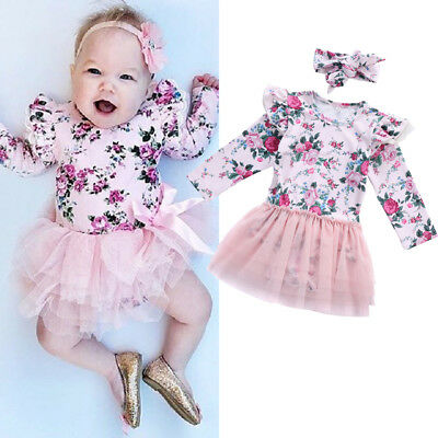 AU Stock Newborn Toddler Baby Girl Outfits Floral Romper Tutu Lace Dress Clothes