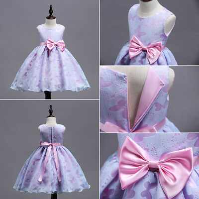 AU Stock Flower Kids Girls Bowknot Tulle Bridesmaid Pageant Gown Formal Dresses