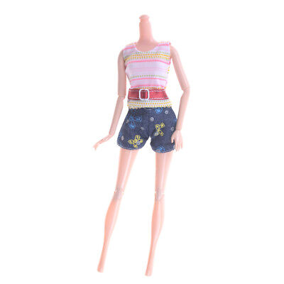 2Pcs/Set Fashion Doll Clothes Handmade Dress for Barbie Doll Party Daily Cloth .