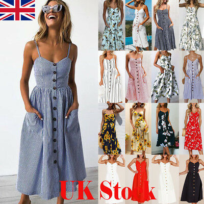 UK Womens Strappy Button Pocket Holiday Dress Summer Beach Midi Swing Sundress