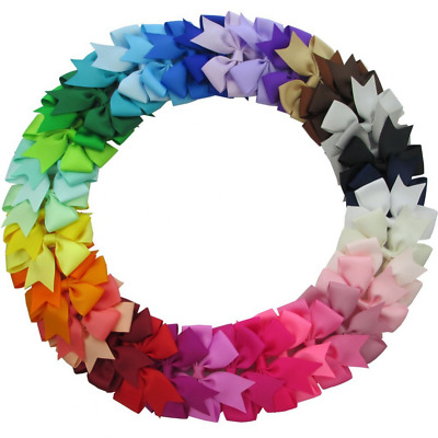 """40 Pcs. Grosgrain Boutique Ribbon Baby Girls 3"""" Pinwheel Hair Bows With Clips"""
