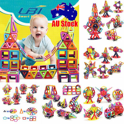 166PCS DIY 3D Multicolour Magnetic Blocks Construction Building Kids Toy Gift AU
