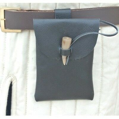 Medieval Leather Pouch - Horn Toggle - LARP / Re-Enactment / Theatre Use
