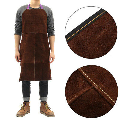 Brown Welding Apron Heat Insulation Cow Leather Welder Protection Carpenter