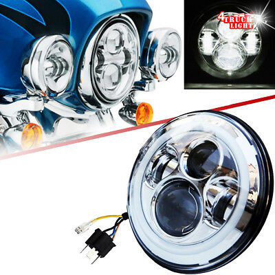 "7"" Chrome Cree LED Headlight Head Light For Harley Road Glide Softail FLTR 04-13"