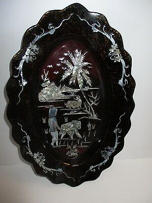 Oriental Red Laquered Vintage Hanging  PLate  Heavy 31cm x 21 cm