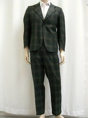 1970's VINTAGE SUIT Men's - Olive Green Check - Size 42 Short