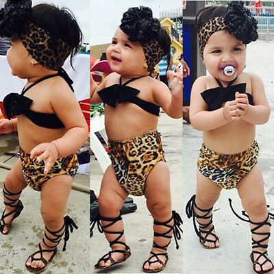 Toddler Baby Girls Cotton Swimsuit Swimwear Swimming Costume Bathing Suit AU