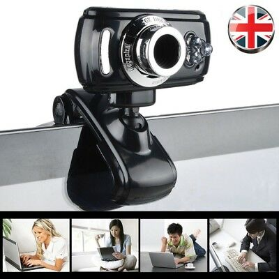 USB 50 Megapixel HD Webcam Web Cam Camera & Microphone Mic 3 LED PC Laptop Gift