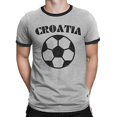 Mens CROATIA Football T-Shirt World Cup 2018 Basic Retro