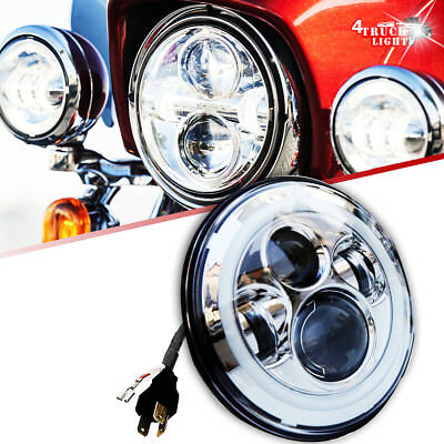 "7"" LED Projector Daymaker Chrome Headlight Harley Street Glide Softail FLHX F"