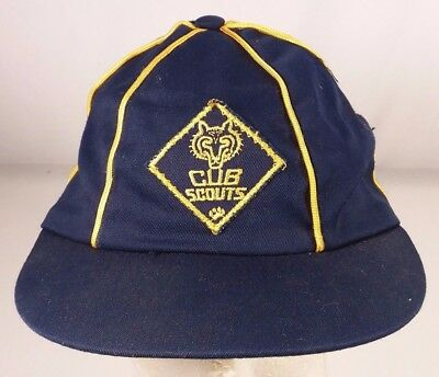 Vintage Cub Scouts Hat America Blue Gold 6 7/8 BSA Patch Cap Youth 4